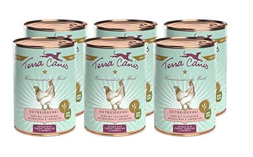 Terra Canis Getreidefreies Nassfutter I Reichhaltiges Premium Hundefutter in echter Lebensmittelqualität mit Huhn, Pastinake & LöwenzahnI 6 x 400g, allergenarm & glutenfrei