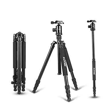 Zomei Z818 Professional Camera Tripod Monopod With Ball Head/Quick Release Plate and Carring Case (Black)