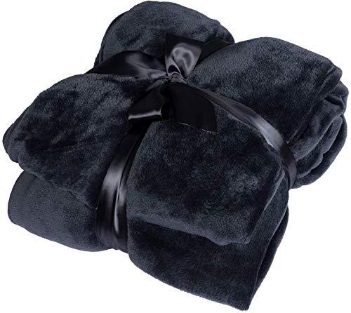 WOLTU® Flanell Kuscheldecke 220 x 240 cm Schwarz Sofadecke, 260 GSM warme & weiche Wohndecke Sofaüberwurf Decke, TV Decke, Couchdecke, Tagesdecke, flauschig Schlafdecke