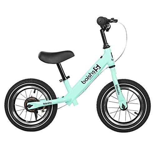 Hs&sure Capacitación para niños Bicicleta de Equilibrio por 2 3 4 5 6 años, sin pedalear Bicicletas para Caminar con Freno de calibrador y neumático de Goma, Jinete Ajustable, Verde