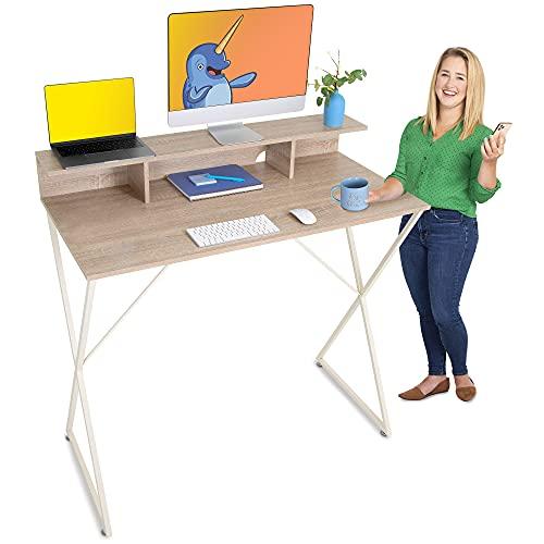 Stand Steady Joy Standing Desk   Pretty Standing Desk with Shelf & Built-in Storage Cubbies   Modern...