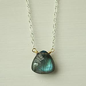 Labradorite Triangle Gemstone Necklace Sterling Silver