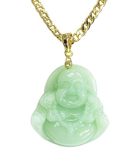 Smiling Laughing Buddha Lime Green Jade Pendant Necklace Cuban Cubana Gold Chain Genuine Certified Grade A Jadeite Jade Hand Crafted, Jade Neckalce, 14k Gold Filled Buddha necklace, Jade Medallion (18.00)