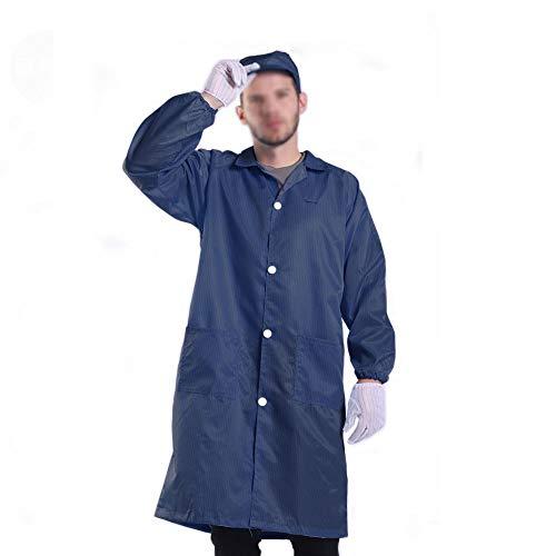 Long Sleeve ESD Safe Anti-Static Lab Coat Non-Stretch Unisex Uniform Comfort Fit (3XL, Navy)