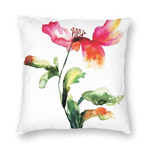 ZUL 3D Print Throw Pillow Covers,Shaded Single Poppy Flowering Plant Muse Nature Earth Divine Grace,Decorative Square Cushion Covers Case for Sofa Couch Home Decor