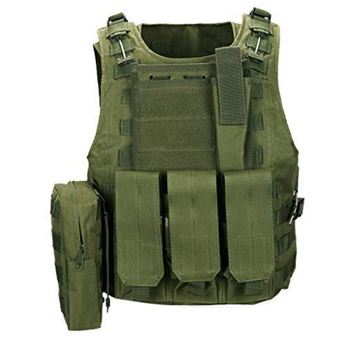 QHIU Gilet tattico Protezione Camouflage Regolabile Panciotto Giubbotti Militare Assault Combat Molle Vest per Softair Paintball Caccia CS