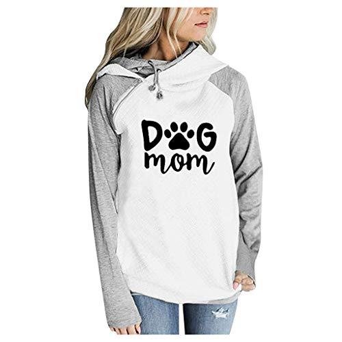 Damen Kontrastfarbe Pulli Pullover Rollkragen Sweatshirt Kapuzenpulli Loose Top Langarm Hoodies Große Größe