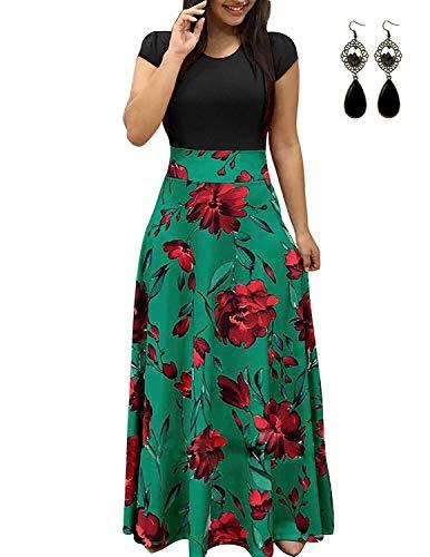 UUAISSO Donna Vestiti Eleganti Lunghi Floreale Casuale Abito Maxi Manica Corta Abiti Vestito da Cocktail Banchetto Sera E-Verde 3XL