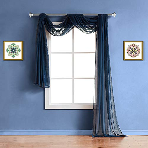 """WARM HOME DESIGNS XXL 54"""" (Width) x 288"""" (Length) Sheer Royal Navy Blue Window Scarf (Rare 24 Feet Long Size). All Valance Scarves are Great for Any Window, Bed, Wall or Other DIY Project. K Navy 288"""""""