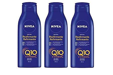 NIVEA Q10 Body Milk Reafirmante en pack de 3 (3 x 400 ml), loción corporal hidratante para mejorar la elasticidad de la piel, loción con coenzima Q10 y vitamina C
