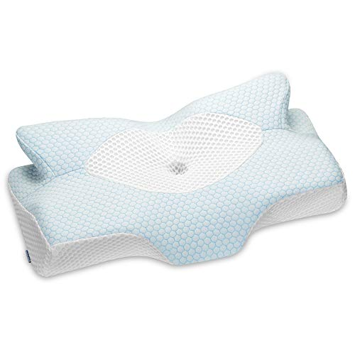 Elviros Cervical Memory Foam Pillow, Contour Pillows for Neck and Shoulder Pain, Ergonomic Orthopedic Sleeping Neck Contoured Support Pillow for Side Sleepers, Back and Stomach Sleepers (Blue)