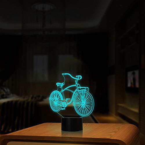 Yujzpl 3D-illusielamp Led-nachtlampje, USB-aangedreven 7 kleuren Knipperende aanraakschakelaar Slaapkamer Decoratie Verlichting voor kinderen Kerstcadeau-fiets
