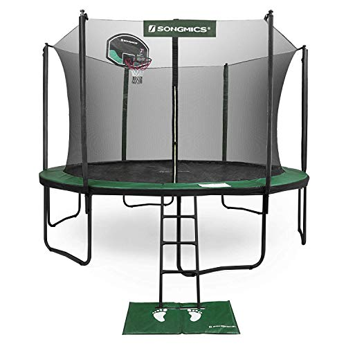 SONGMICS 15-Foot Trampoline with Enclosure Net, Basketball Hoop, Jumping Mat, Safety Pad, Ladder, Outdoor Backyard Trampolines, Green USTR15GN