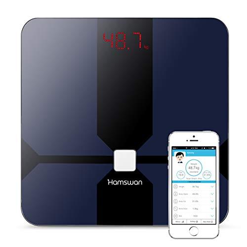 Báscula Grasa Corporal, [2018 Versión Regalos] HAMSWAN Báscula de Baño Inteligente, Analizar Más de 12 Funciones, Medidora Composición Bluetooth Para Móviles Andriod y iOS, Escalalizador Inteligente