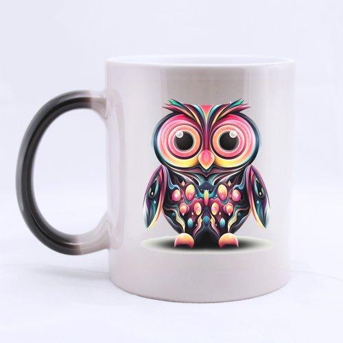 Generic personnalisée Motif chouette (côté 2) 11 oz chaleur sensible couleur changeante Mug Magic Morphing Céramique Café Thé Lait Tasse parfaite pour des vacances personnalisables cadeau ou cadeau d'anniversaire, Céramique, C