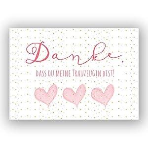 """A6 Postkart""""Danke, dass du meien Trauzeugin bist!"""" in rosa/gold Glanzoptik Papierstärke 235g/m² Geschen für Schwester – Freundin – Trauzugin zur Hochzeit"""