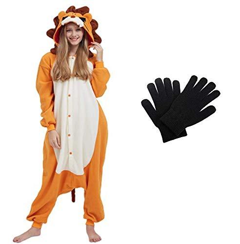 Kigurumi - Pijama de una pieza para disfraz de animal de Onesies para carnaval, Navidad, Halloween, fiestas, Cosplay de una pieza, cálido y suave con guantes de invierno Leone M