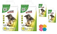 WITH NATURAL KERNEL CORN GRANULES with deodorizer cat litter to prevent unpleasant odours CLUMPS CAN BE EASILY AND SAFELY disposed of by flushing down the toilet for clean replacement A LIGHTWEIGHT CLUMPING CORN cat litter with odours eliminator lock...