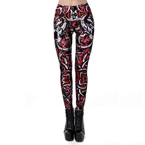 CKUZI 3D-Druck Yoga-HosenSchädel Legging für Frauen Bone Fire Leggins Hochwertige Fantastic Slim Ankle Pants