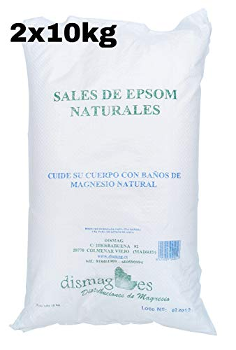 Kit 2 x 10 Kg Bolsa - Sal de Epsom Puras Fuente concentrada de Magnesio, Sales 100% Naturales. Baño y Cuidado Personal.Promocion Envio 24h