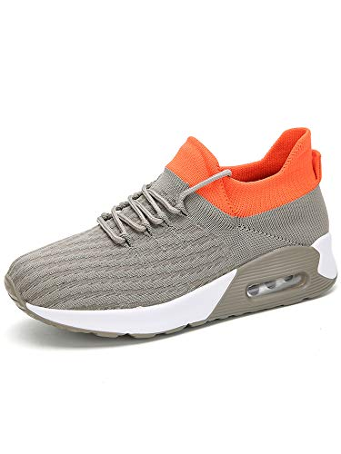 Zapatillas de deporte para mujer, con cojín de aire, atlético, para correr, calcetines elásticos, con cordones, color, talla 36 EU