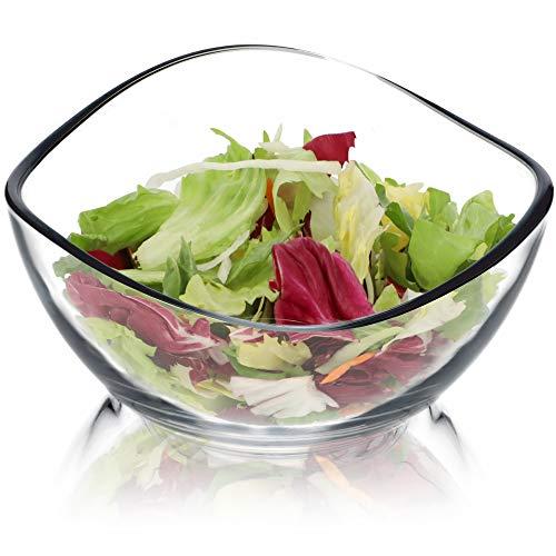 KADAX Schüssel aus Glas, Schale mit gewellten Rändern, Salatschale mit verstärktem Boden, Desertschale, Glasschale, Salatschüssel (⌀ 17cm, 1 Stück)
