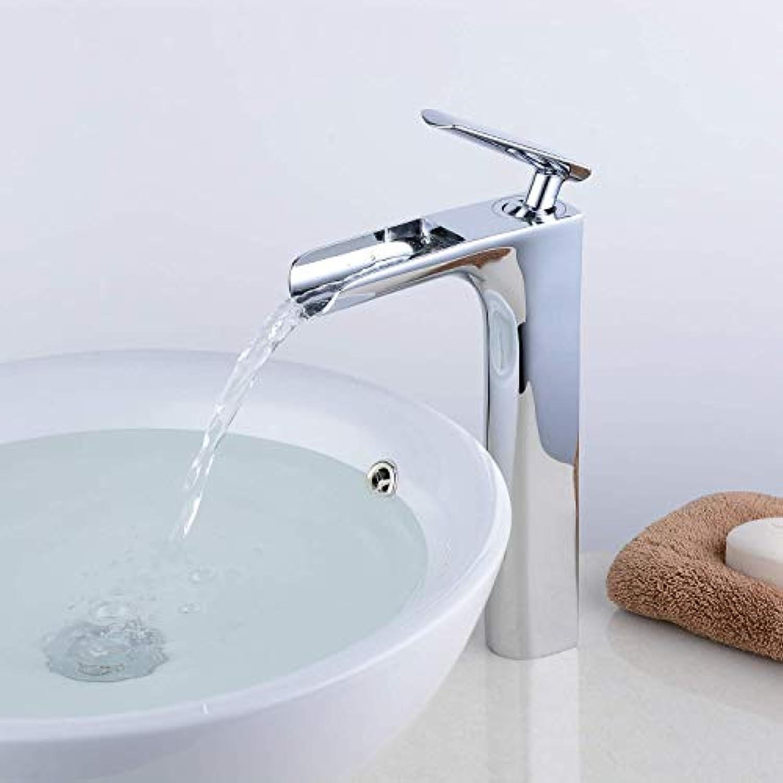 Marcu Home Waschtischarmatur Einhebel-Wasserfall Waschtischarmatur Hohe Mono-Armaturen, Chrom poliert, Messingkonstruktion