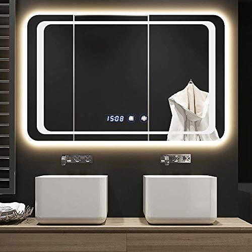 Espejo Espejo de baño LED Iluminado con función de visualización de Temperatura Altavoz Bluetooth Incorporado Interruptor de Sensor táctil 600 X 800 Mm para Espejo de baño