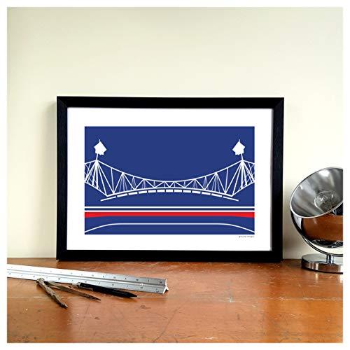 Bolton Wanderers Football Gift Graphic Design Art Print - University of Bolton Stadium'Horwich Washing Lines' Ground Designs