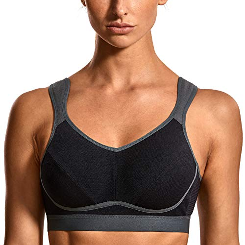 SYROKAN Women's High Impact Support Wirefree Bounce Control Plus Size Workout Sports Bra Black/Grey-1 36C