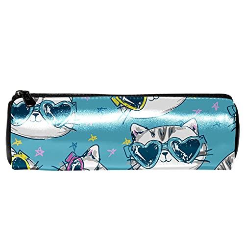 Estuche de lápices con diseño de gato en gafas de sol, bolsa de papelería, bolsa de almacenamiento, organizador de cosméticos para la escuela, adolescentes, niñas, niños, hombres y mujeres