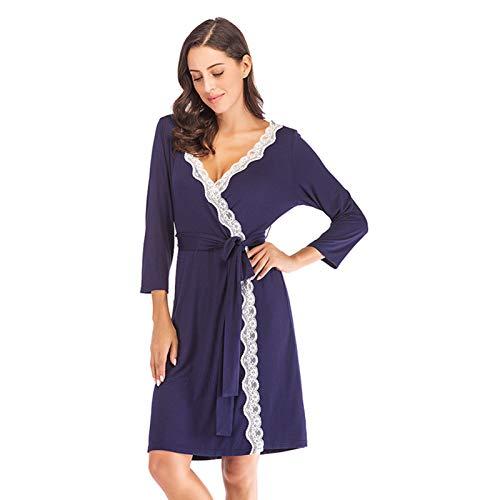 Ansemen Albornoz Modal Atractivo de Mujeres, Batas Suaves de Pijamas de la Rebeca de la Costura del Cordón Casual Homewear