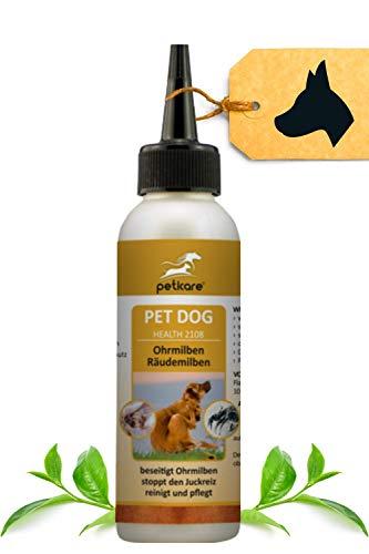 Peticare Ohren-Lösung bei Ohrmilben für Hunde - Wirksames Pflege-Mittel gegen Milben, Ohrräude, stoppt Juckreiz am Ohr, lindert Entzündungen, 100% natürlich - petDog Health 2108 (250 ml)