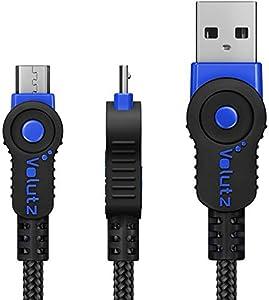 Volutz Cable Micro USB (3M Extra Largo) Cable de Carga para Mando PS4, Trenzado, Resistente y rápido, para Samsung Galaxy S6 S7, HTC, Sony, LG, Kindle, Xbox One, 3 m - Color Azul