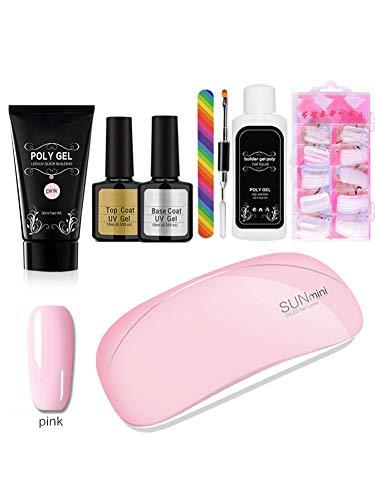 Starterset voor gel-nagellak, met ledlamp, UV, 8-delig gereedschap, uitbreiding van de nagels met gel-poly-gel, voor het creëren van nagels