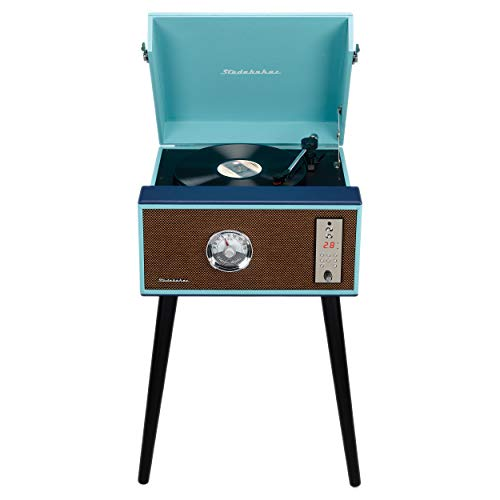 Studebaker Floor Stand Turntable, Bluetooth Receiver, CD Player, FM Radio, Wood Cabinet, 3W RMS Speakers x 2, (Teal)