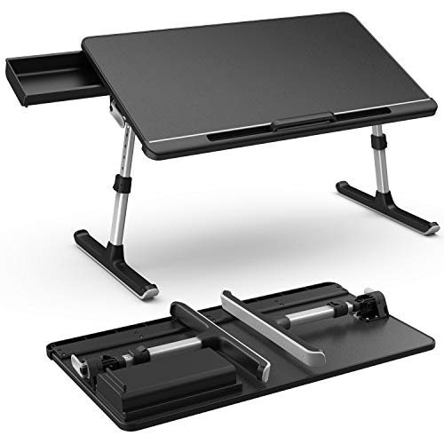 Laptop Desk with Storage Drawer,Foldable Legs,Height and Angle Adjustable,Klearlook Laptop Bed Table,Portable Lap Desk,Notebook Stand Reading Holder,Dorm Desk for Reading,Watching Movie on Bed/Sofa