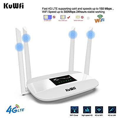 KuWFi 4G LTE CPE Wireless WiFi Internet Router 300Mbps Unlocked with SIM Card Slot with 4pcs Antenna for CA/USA/MX and a Few Central American Countries Not for Verizon SIM Card