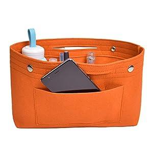 NOTAG Bolso de Organizador de Fieltro, Multifuncionales Bolsillos de Viaje Ordenado Bolsos Insertar Portátil Cosmético Maquillaje Almacenaje (naranja, L)