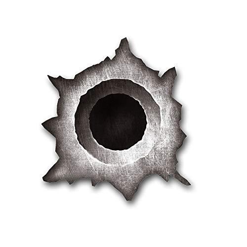 GDS MedienTeam GmbH Einschuss-Loch Sticker I 1 Bullet-Hole als Auto-Aufkleber, für Roller Moped Motorrad Notebook Laptop Kühlschrank I schwarz grau I wetterfest I kfz_148