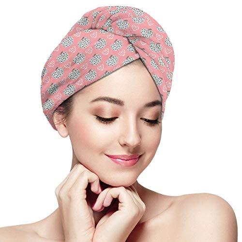 N/A Serviette à Cheveux Wrap Turban Microfibre Séchage Rapide Bonnet de Bain de Style Dessin Animé Illustration De Figures Et Icônes Coeur
