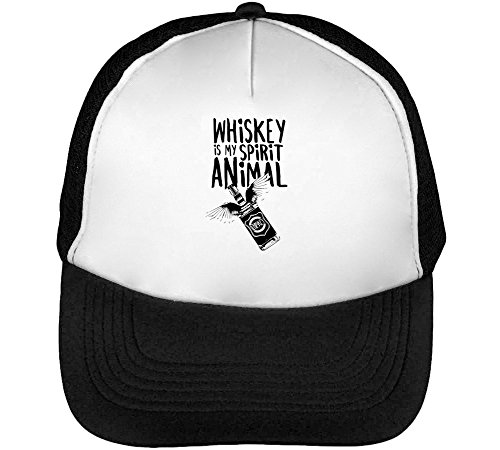 Whiskey is My Spirit Animal Heren Baseball Trucker Cap Hat Snapback Black White