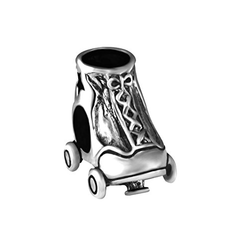 Quiges 925 Sterling Silber 3D Rollschuh Charm Bead