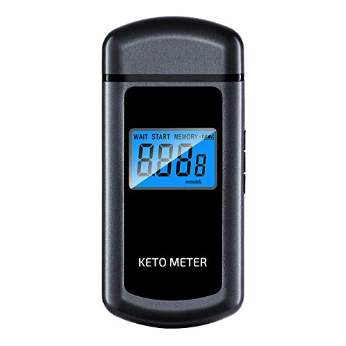 Ketone Meter, Rechargeable Ketone Breath Analyzer, Acetone Breath Ketosis Ketone Breath Analyzer with 10 Mouthpieces