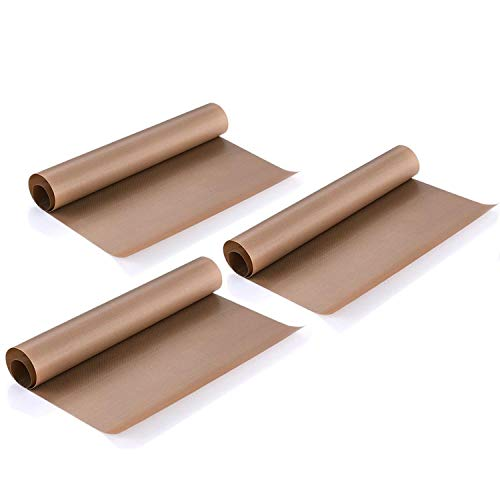 3 Pack PTFE Teflon Sheet 16 x 20 For Heat Press Transfer Sheet, Non Stick Heat Resistant Craft Mat, Vinyl Sheets for Sewing Ironing Clothes Protector, Paints & Crafting, Bakery, Barbecue grill mat,etc