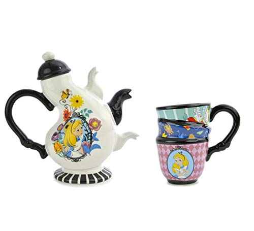 Disney Alice in Wonderland Ceramic Tea Set, 17 oz Teapot with Lid + Tea Cup