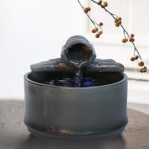 Ferrisland インテリア噴水 デザイン卓上噴水 アンティーク工芸 ふんすい 日本庭園 和風噴水ミニチュア 癒し オブジェ 流水 樹脂工芸品 木 置物 風水 開運 (ブラック)