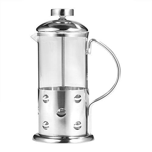 Cafetera francesa Tetera con marco y mango y tapa de acero inoxidable, olla de te, cafetera pressofiltro, tetera de filtro plano (350 ml)