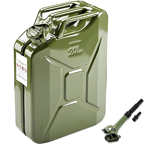 """AMZOSS 20L 5 Gallon Metal Gas Can Green with Fuel Can and Spout System, US Standard Cold-Rolled Plate Petrol Diesel Can - Gasoline Bucket (13.78"""" x 6.5"""" x 17.91"""")"""