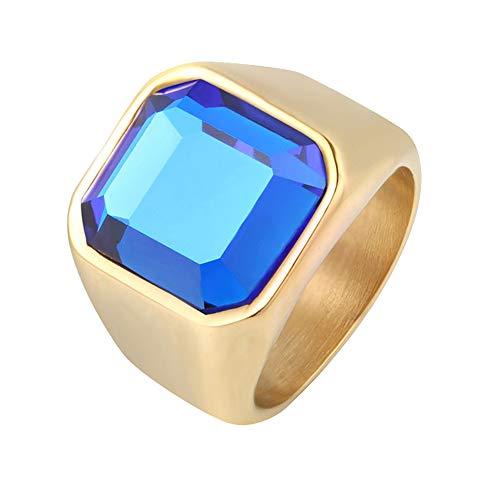 HIJONES Sencillo Pulido Anillo de Piedras Preciosas Azul para Hombre Acero Inoxidable con Zirconia Cúbica Cuadrado Mate Oro Tamaño 26